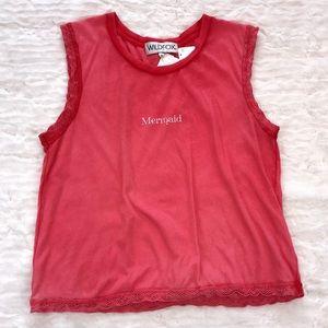 """Small Pink Wildfox """"Mermaid"""" T-Shirt"""